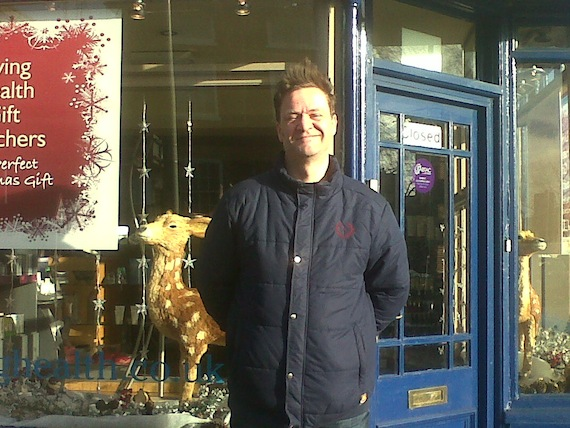 Tom in front of shop